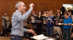Chorprobe im Kongresshauskomplex, Dirigent Joachim Krause