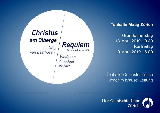 Konzert Requiem von Mozart nach Dutron, und Christus am Ölberge von Beethoven
