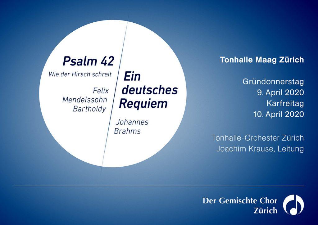 Konzert deutsches Requiem, Psalm 42 zu Ostern 2020